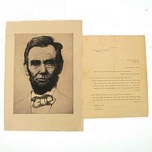 Hermann Struck - Lincoln Portrait & Ben Gurion Letter.