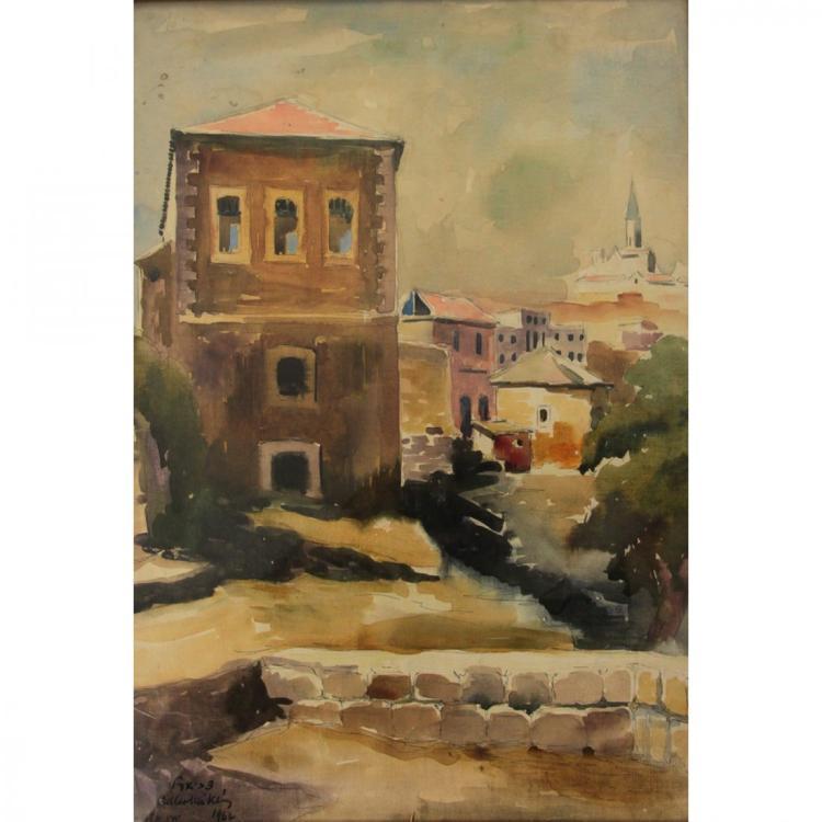 Zvi Adler - Yemin Moshe, Jerusalem, Watercolor, 1962.
