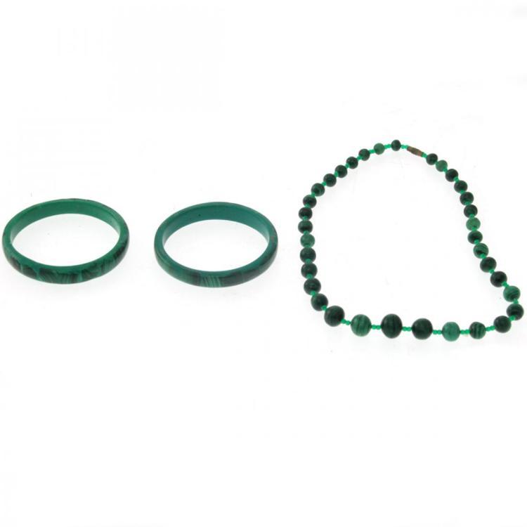 Malachite Necklace and Two Bracelets.