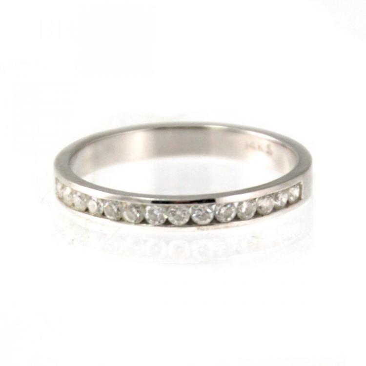 14k White Gold and Diamond Ring.