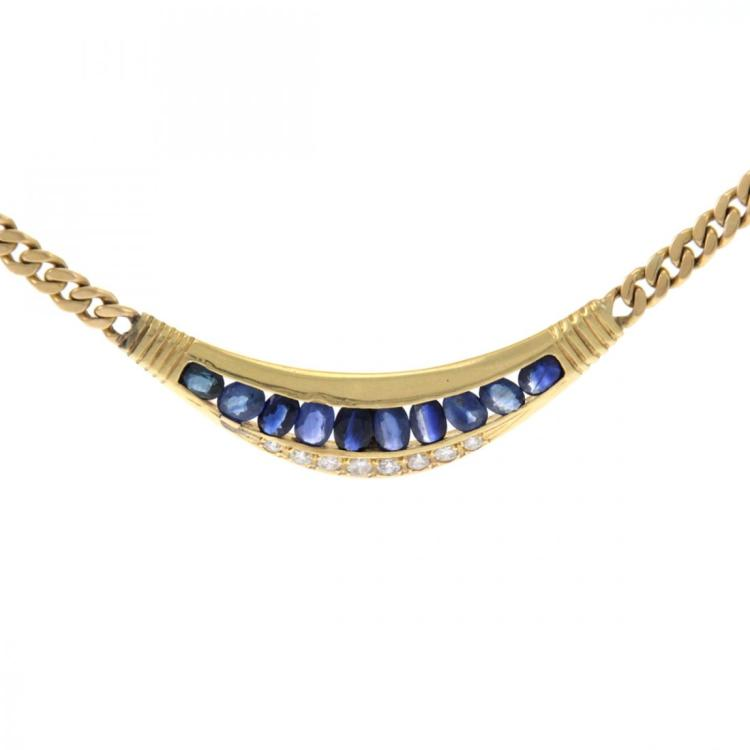 18k Yellow Gold Sapphire and Diamond Necklace.