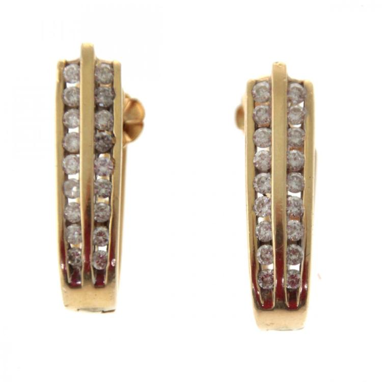 Pair of 14k Yellow Gold and Diamond Earrings.