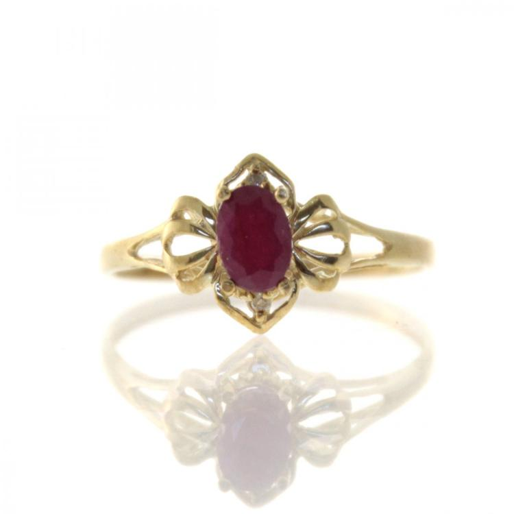 10k Yellow Gold Ruby Ring.