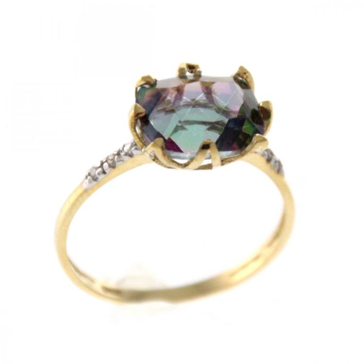 10k Yellow Gold Fire Topaz Ring.