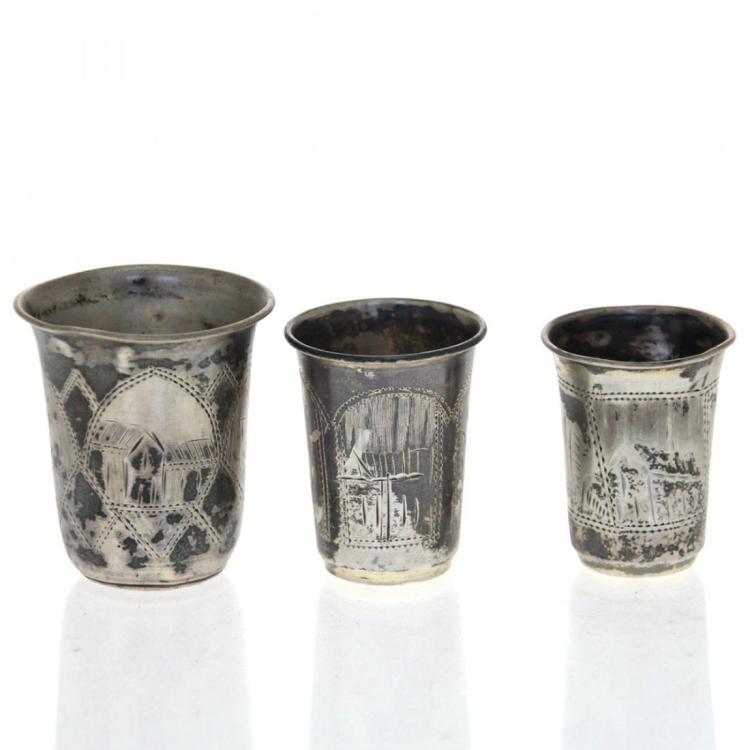 Three Russian Silver Small Cups Tots, Kiev, 1896-1908.