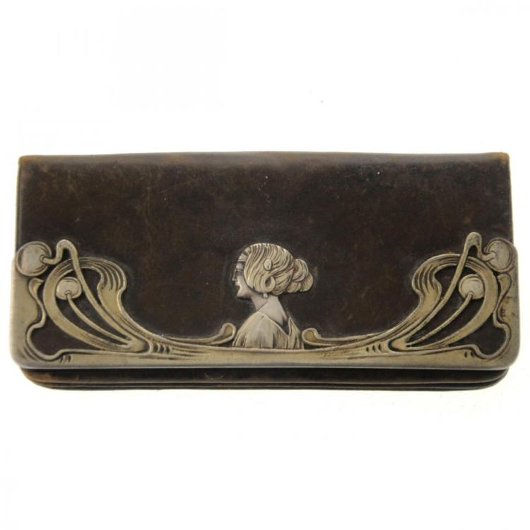 Austrian Art Nouveau Silver Mounted Leather Purse.