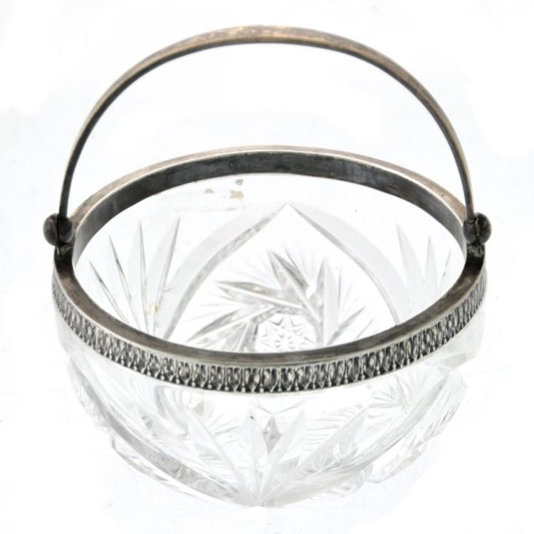 Russian Silver Mounted Crystal Bowl.