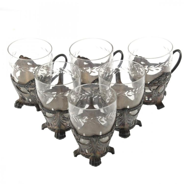 WMF Art Nouveau 6 Toddy Glass Holders Germany Ca 1900