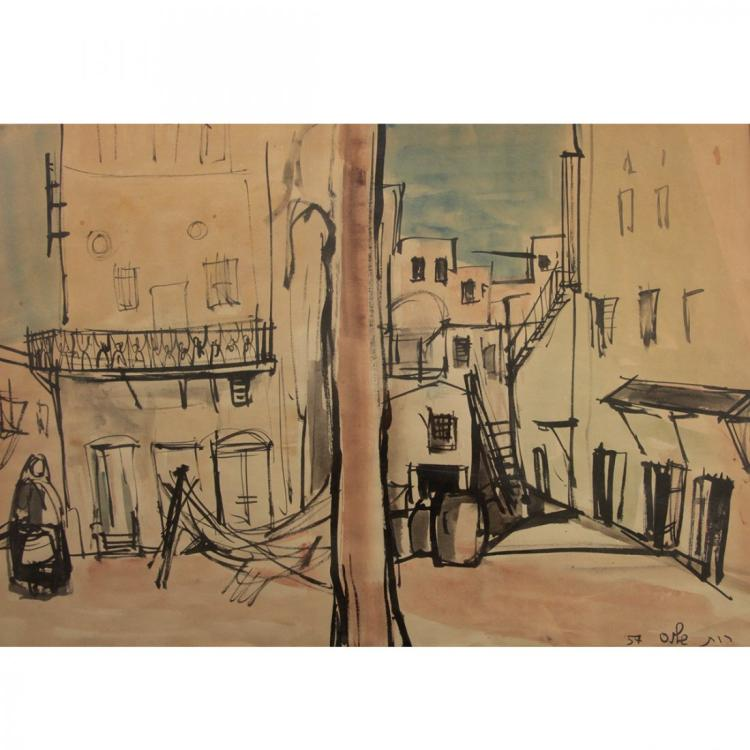 Ruth Schloss - Street View, Watercolor on Paper, 1957.