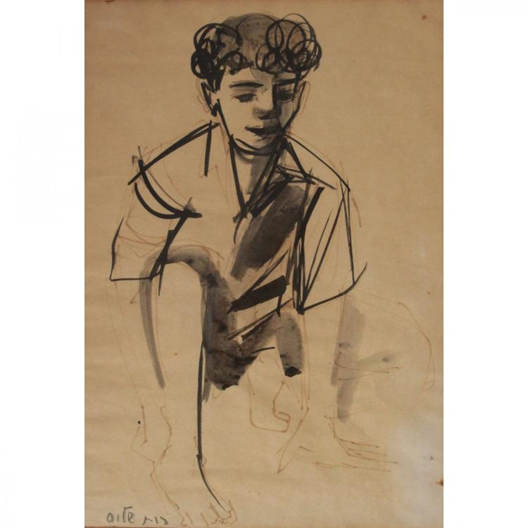 Ruth Schloss - Boy, Ink on Paper.