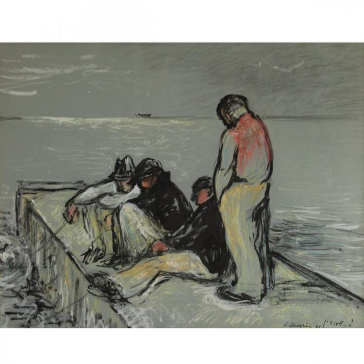 Ludwig Schwerin - Fishermen, Pastel on Paper.