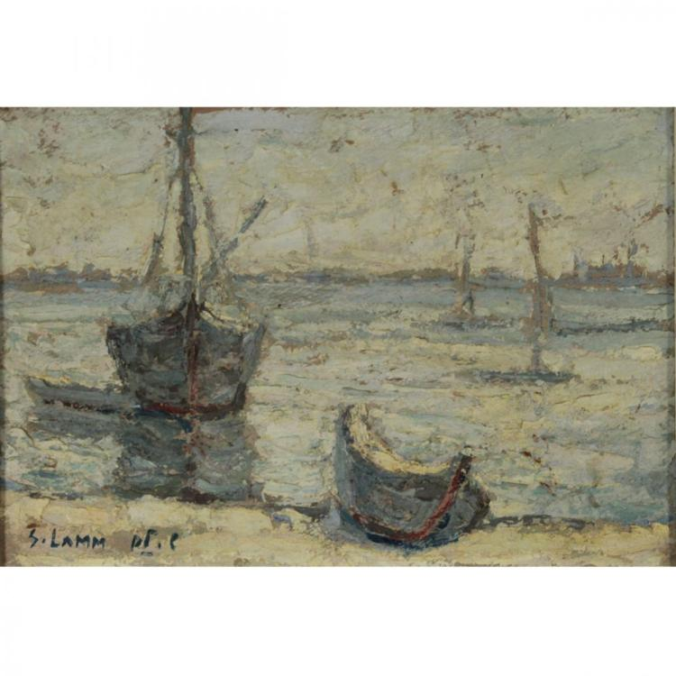 Shmuel Lamm - Boats, Oil on Board.