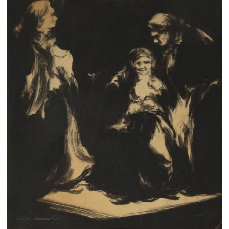 Avraham Goldberg - India Ink on Paper, 1943.