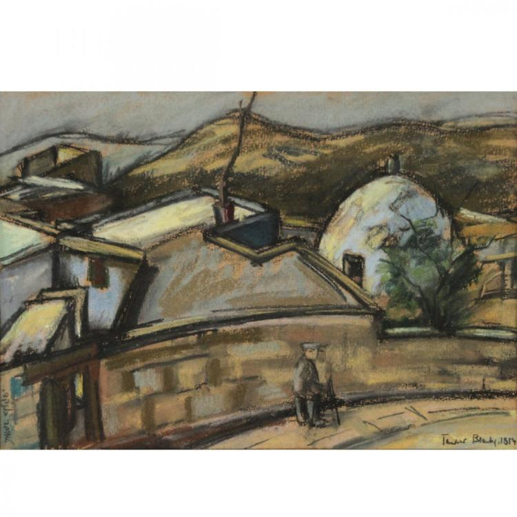 Blanca Tauber - Safed, Pastel on Paper, 1954.