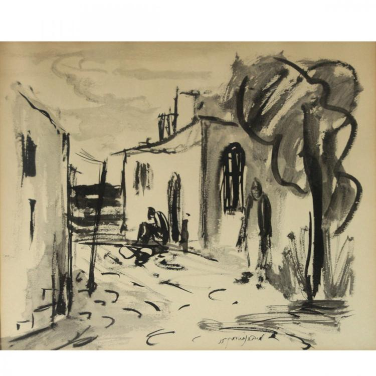 Moshe Bernstein - Watercolor on Paper, 1955.