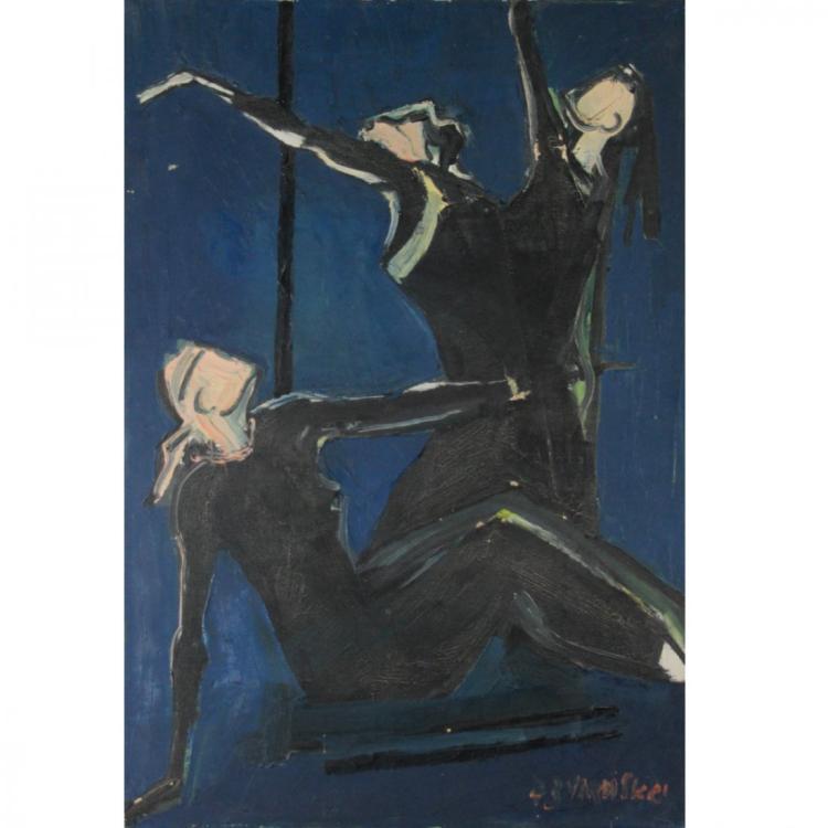Yigal Vardi - Dancers, Oil on Canvas, 1973.