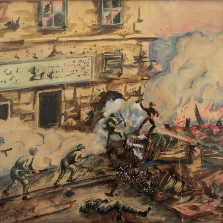 Krapchek - War, Mixed Media on Paper.
