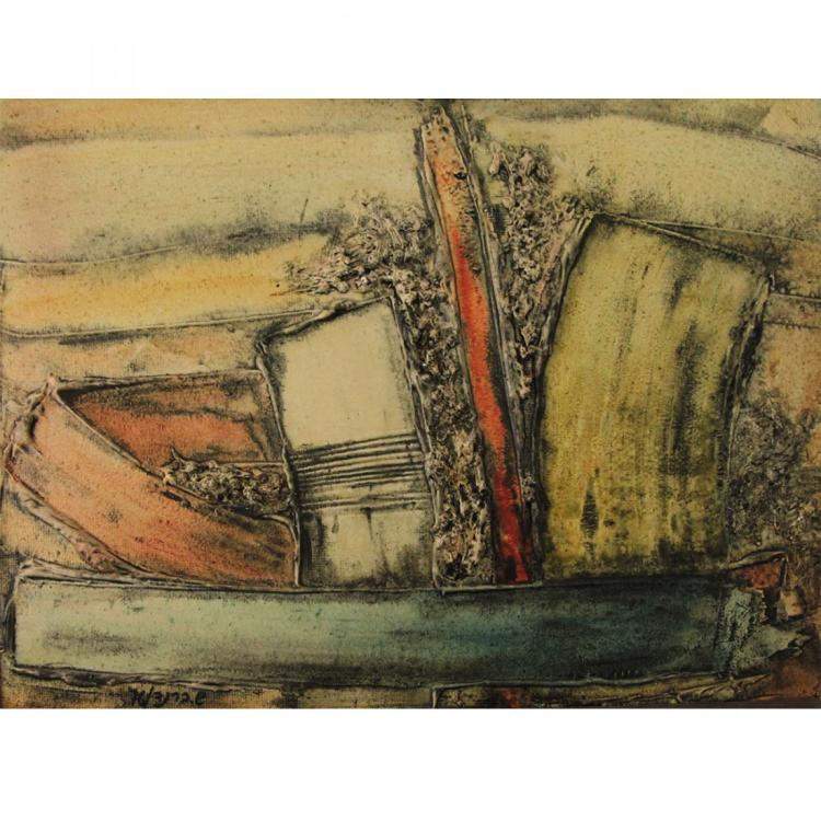 Shmuel Brand, Plaster and Oil on Board, 1976.
