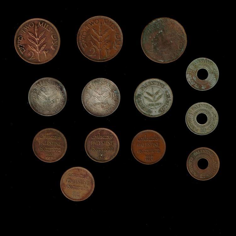 13 British Mandate in Palestine Coins.
