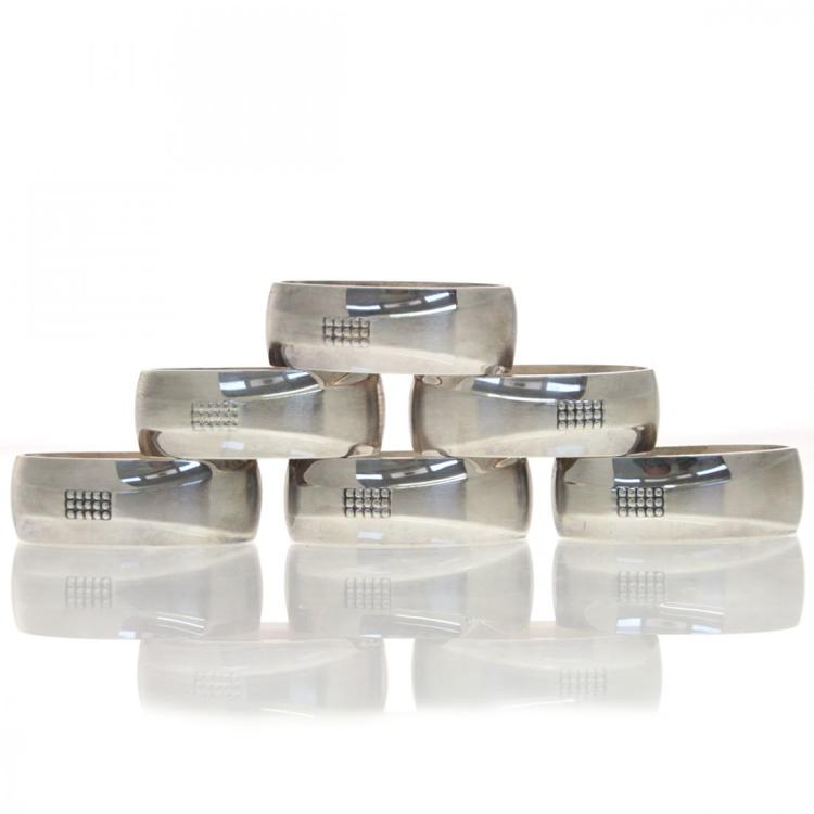 Set Of German Silver 6 Oval Napkin Rings.