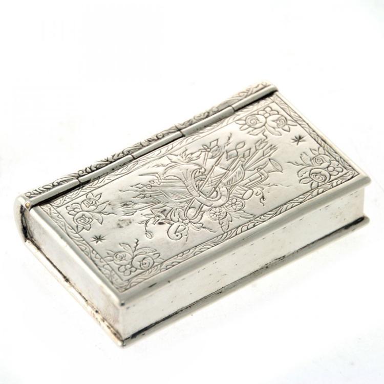 Silver Book Shape Snuff Box, 19th Century.