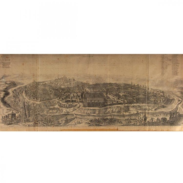 Large Panoramic View of Jerusalem, Olfert Dapper, 1677.