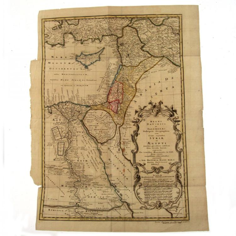 David & Solomon Kingdoms Map, Johann Matthias Haas 1739