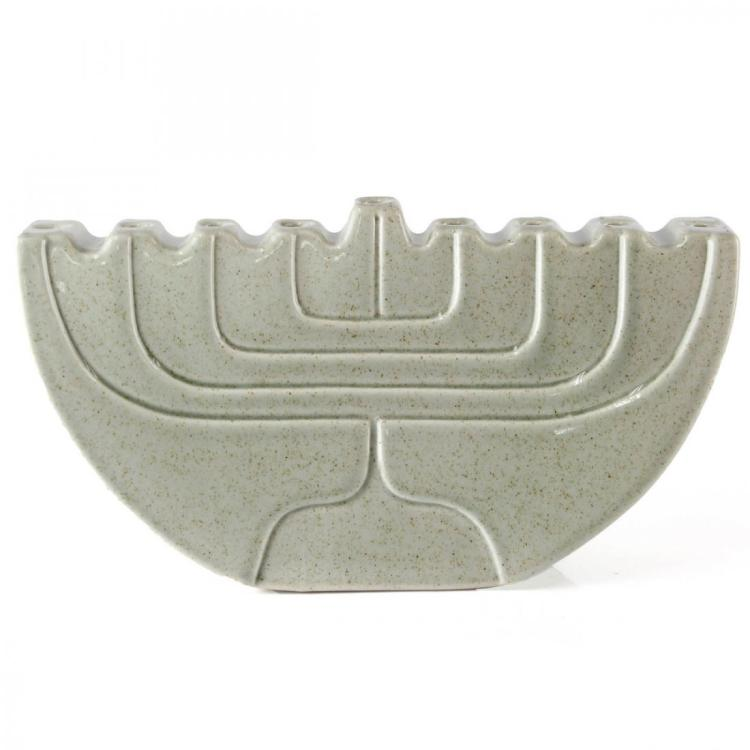 Lapid Glazed Ceramic Hanukkah Lamp Menorah.