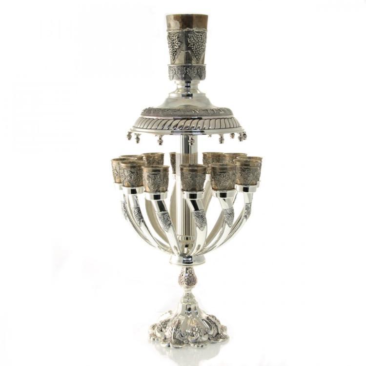 Large Silver Plated Kiddush Wine Fountain, Judaica.