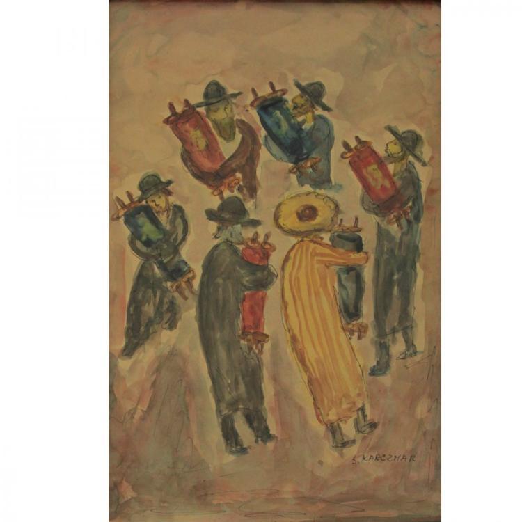 Simon Karczmar - Simchat Torah, Watercolor on Paper.