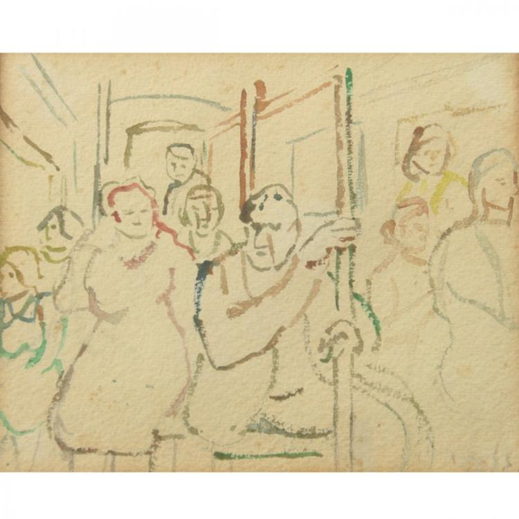 Aharon Giladi - People in a Bus, Watercolor on Paper.