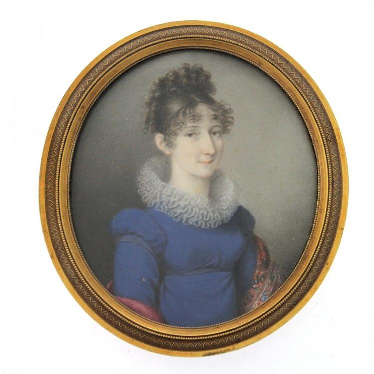 Natale Schiavoni - Miniature Portrait of a Woman.