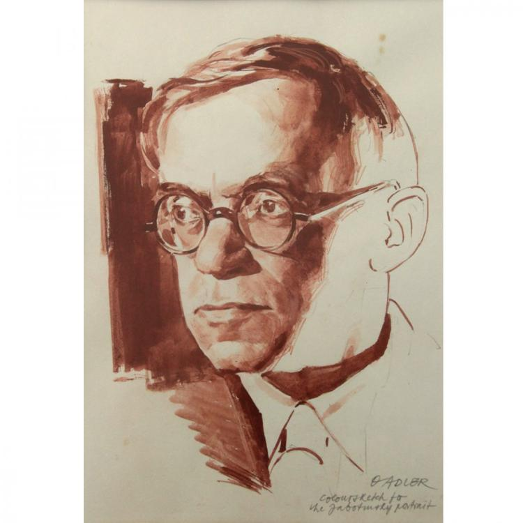 Oswald Adler - Jabotinsky, Watercolor & Pencil on Paper