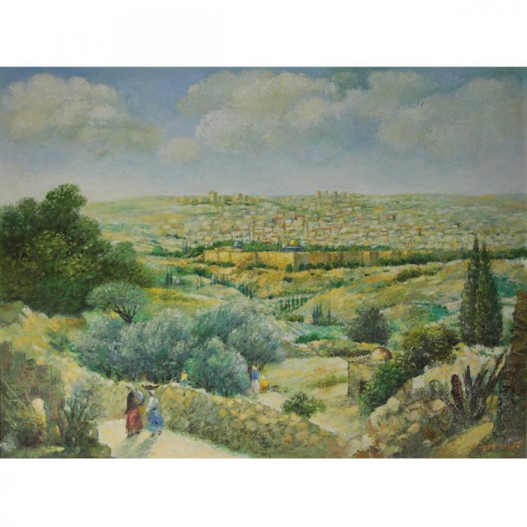 Jerusalem - Oil on Canvas Mounted on Board.