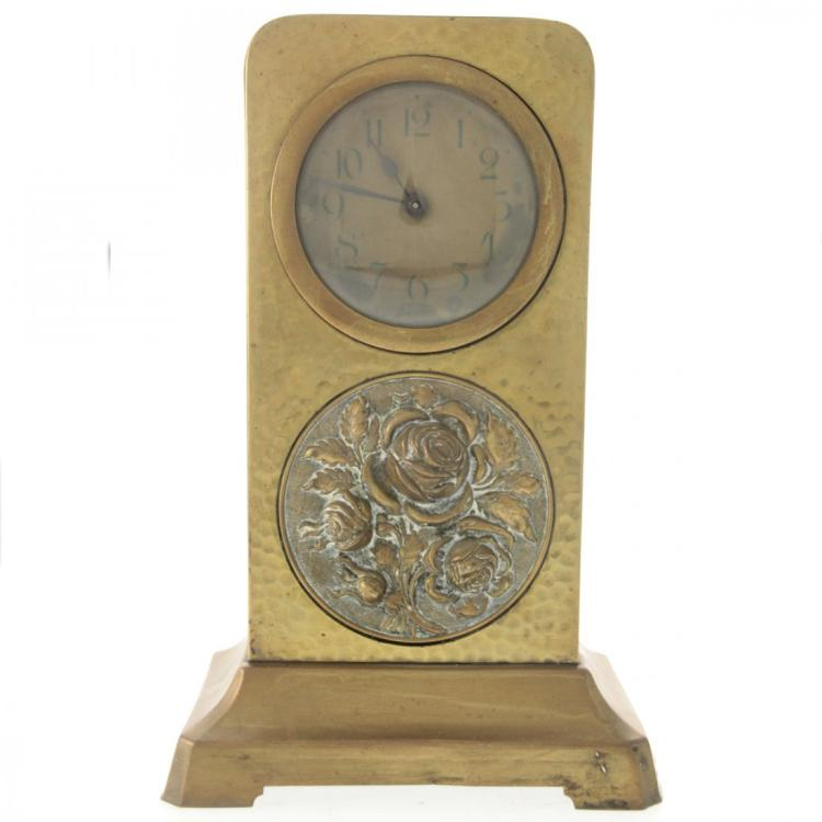Arts and crafts brass mantel clock for Arts and crafts mantle clock
