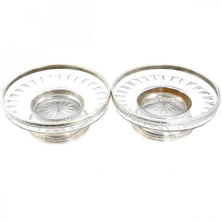 Pair of 950 Silver & Cut Crystal Bowls, Paris 1910-1914