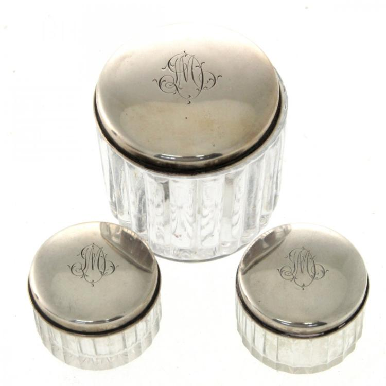 3 Silver and Crystal Toilet Powder Jars.