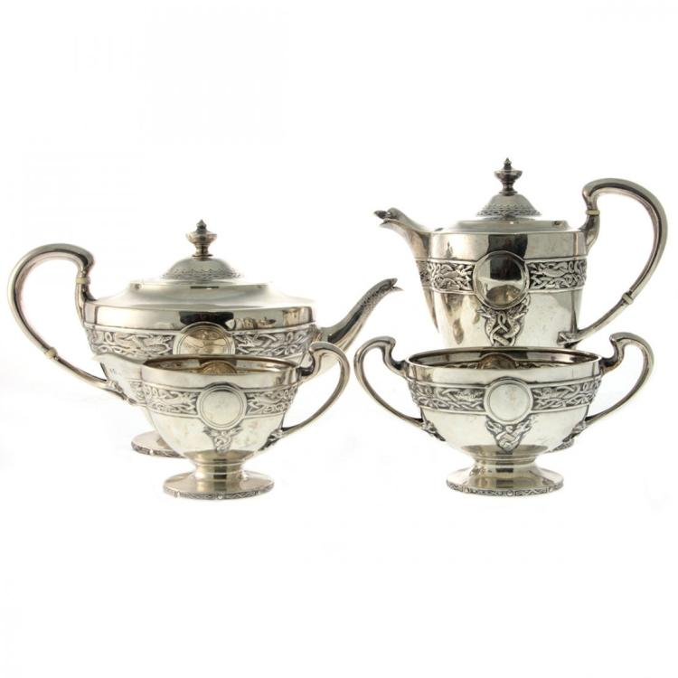 Scottish Sterling Silver Tea Set, Stewart Dawson, 1910.