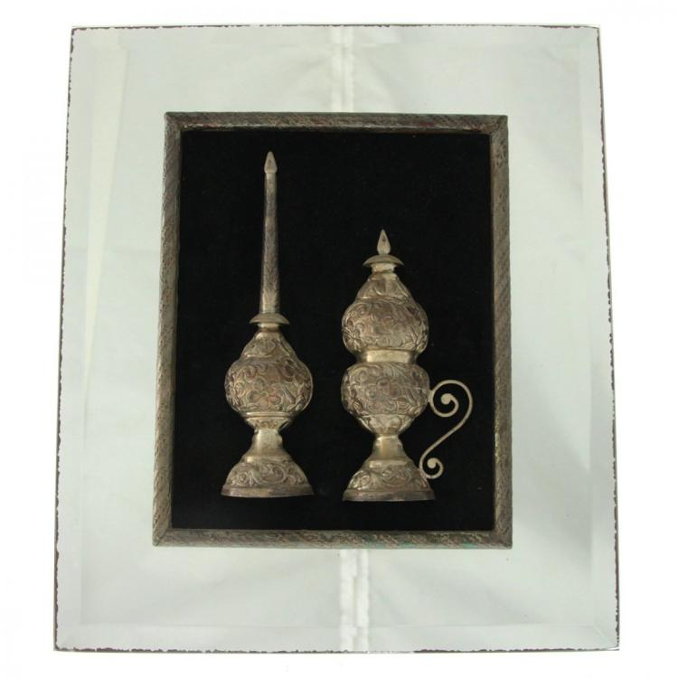 Two Framed Tunisian Silver Items.