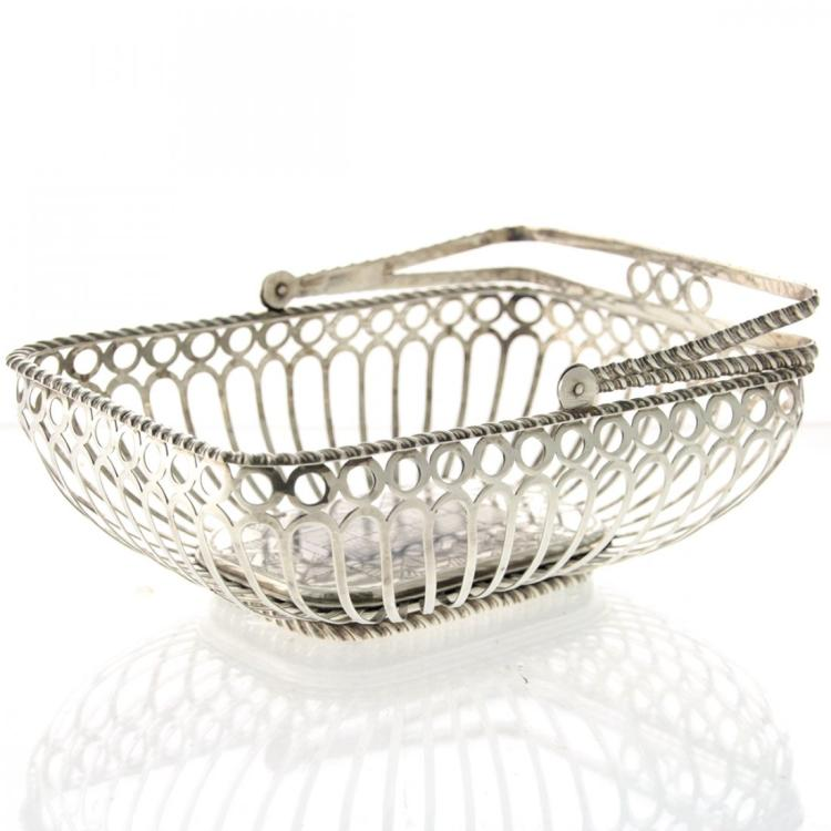 Silver Swing Handled Basket, Porto, Portugal, 1940s.