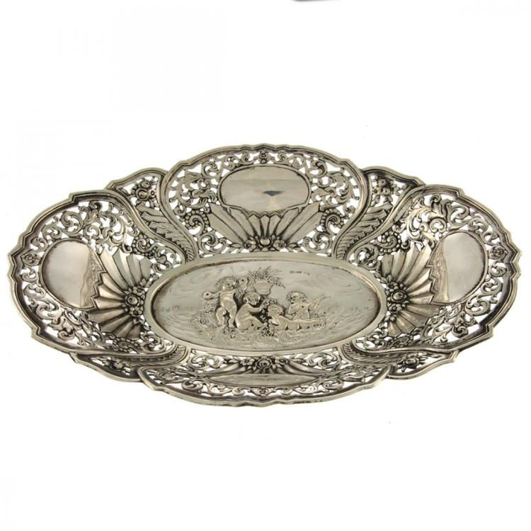 Silver Oval Bowl Basket, Germany, Circa 1900.
