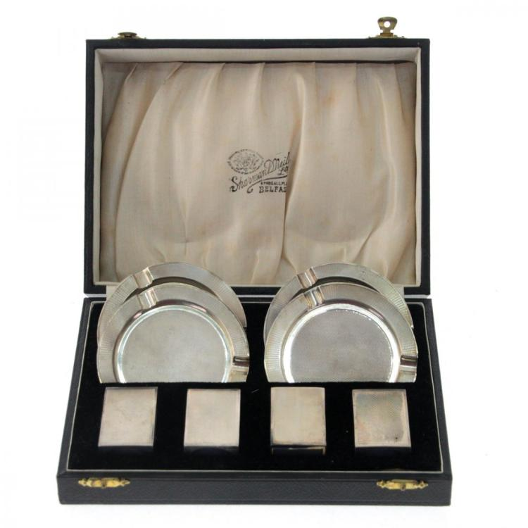 Art Deco Sterling Silver 4 Ashtrays & Matchbox Set.