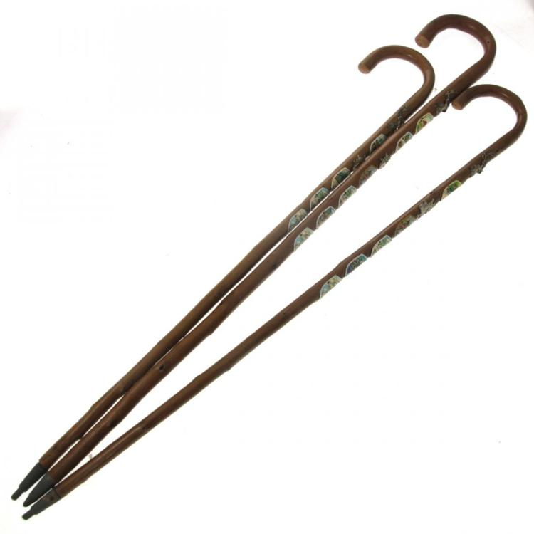 Three Walking Sticks Canes with Applied Badges.