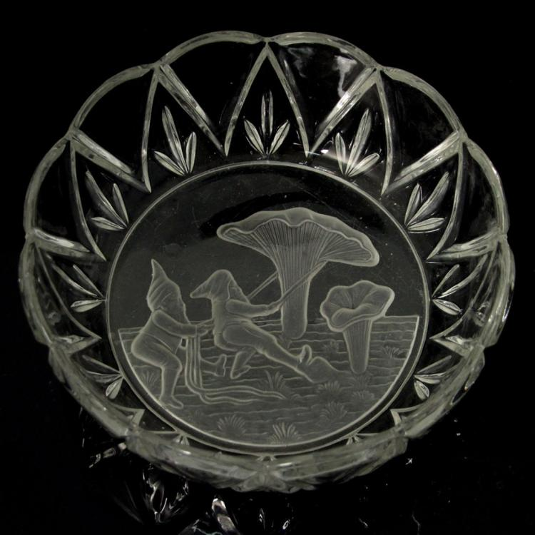 Glass Bowl with Dwarfs Pulling Mushroom Intaglio.