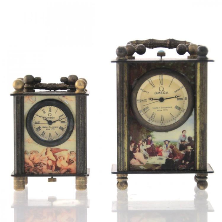 Two Omega Miniature Carriage Clock.
