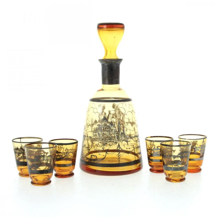 Amber Glass Liqueur Set.