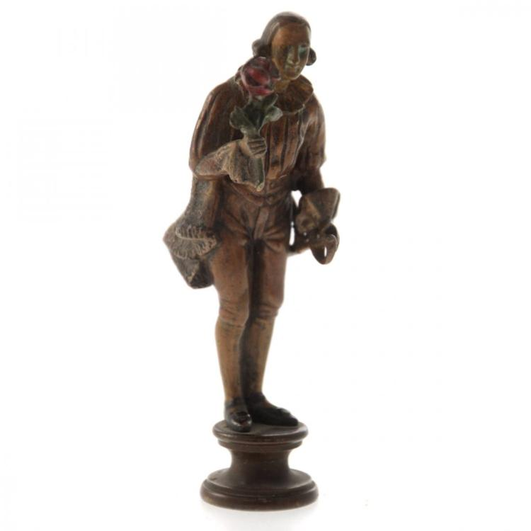 Knight with Rose Vienna Bronze Figurine.
