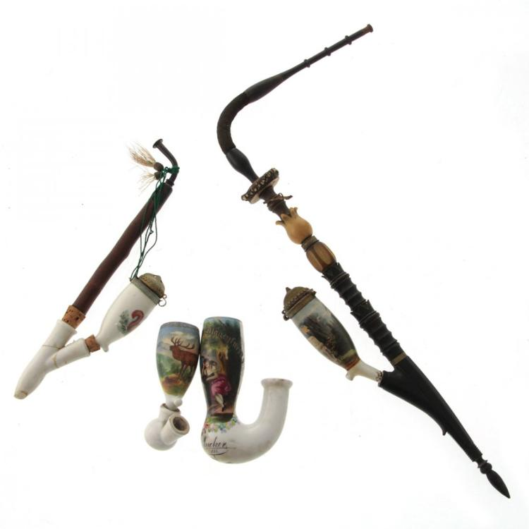 Two Antique Porcelain and Wood Pipes.