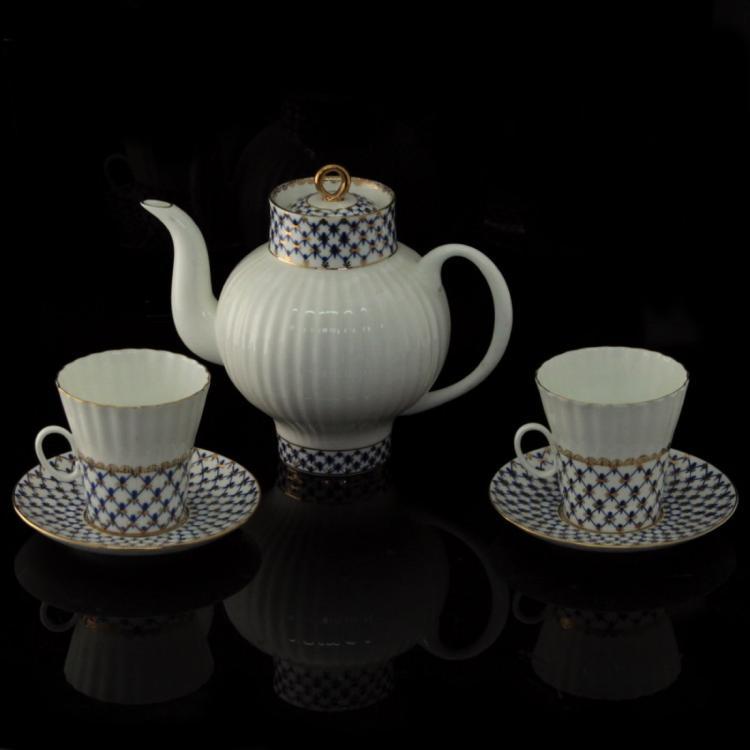 Lomonosov Porcelain Tea Pot and Two Cups