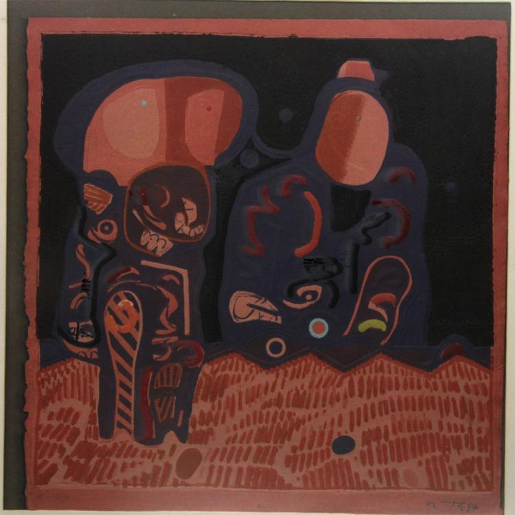 Jose Ortega (1921-1990) - Colored Engraving.